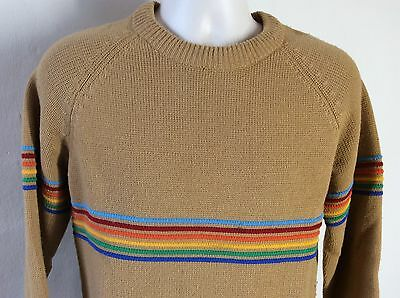 Vtg 70s Rainbow Striped Ski Sweater Beige M Silton Skate Surf Stripes