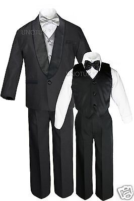 f095686ab985 Boys Satin Shawl Lapel Suits Tuxedos EXTRA Silver Bow Tie Vest Sets Outfits  S-18