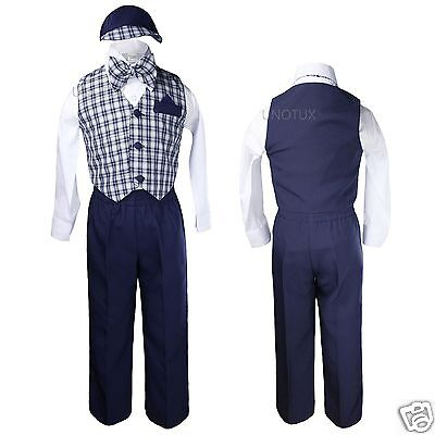 Navy Blue Baby Toddler Boy checks Easter Gingham Wedding Vest Set Suits Sz: S-4T