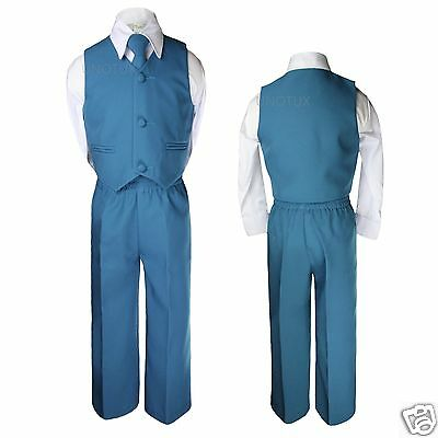 Baby Kid Toddler Boys Wedding 4pc Vest Set Suits Green Bluish Turquoise Teal S-7