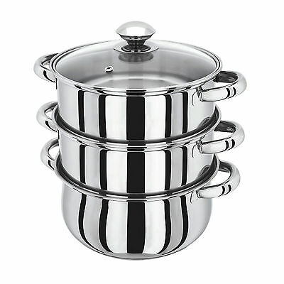 3 Tier Stainless Steel Steamer Set Steam Cooker Pot 4pc Induction Pots Casserole