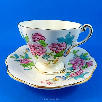 Handpainted Floral Bouquet on White Foley Tea Cup and Saucer Set