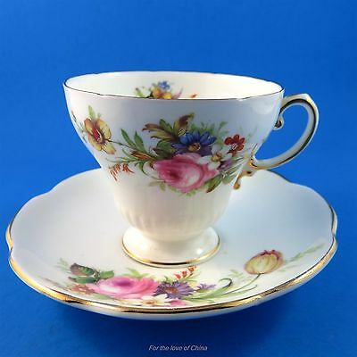 Pedestal Floral Bouquet Foley Tea Cup and Saucer Set