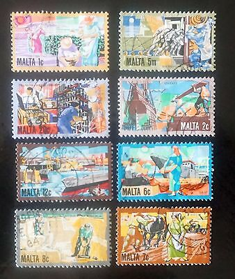 MALTA    GREAT SET  of 8 different postage STAMPS     used