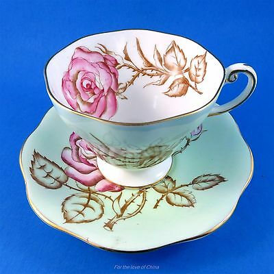 Handpainted Pink Rose on Mint Green Foley Tea Cup and Saucer Set