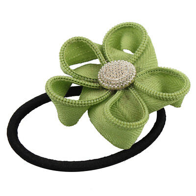 Rubber Bowknot Decor Hairstyle Elastic Ponytail Holders Hair Bands Green Black