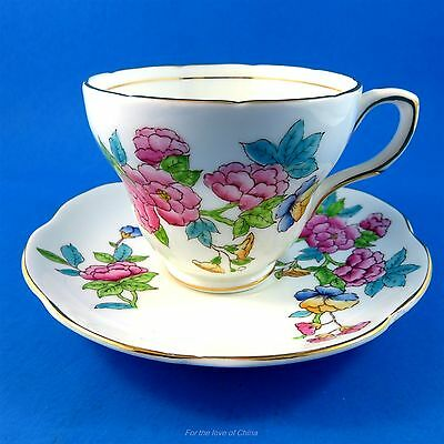 Handpainted Floral Design Foley Tea Cup and Saucer Set