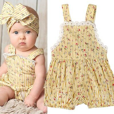 Infant Newborn Baby Girl Sunsuit Floral Romper Bodysuit Jumpsuit Outfits Clothes