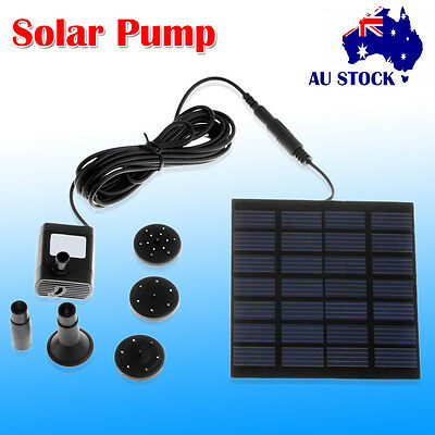 180L/H Solar Power Fountain Submersible Water Pump Garden Pond Pool Kit Panel AU