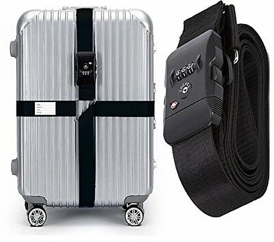 CSTOM Long Cross Luggage Straps with TSA+Combination Lock Suitcases Belts