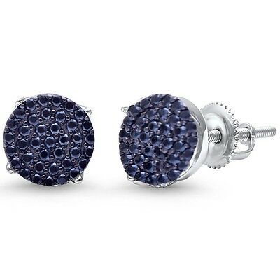 NEW Simple Sterling Silver 10mm Round Black Onyx /& Marcasite Halo Stud Earrings