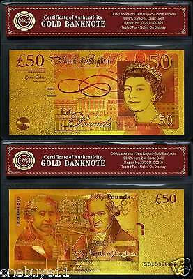 24k Gold Plated Colourised £50 Pound UK Banknote - Gift - British COA Bill Note