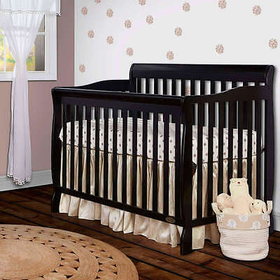 Convertible Baby Bed 5-in-1 Full Size Crib Black Nursery Bedroom Furniture wood!