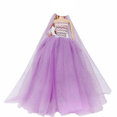 Ball Gown Dress Clothes Wedding Outfit + Veil Accessories For Barbie Doll Gift