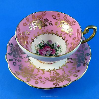 Striking Pink and Gold Border with Floral Center Foley Tea Cup and Saucer Set