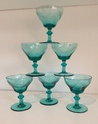 Vintage Set Of 6 Etched Green Glass Sherry Glasses
