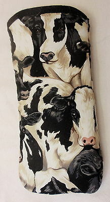 BLACK AND WHITE  COWS  ALL OVER- COTTON GLASSES CASE -   ideal small gift