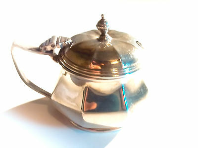 Silver mustard pot by Mappin and Webb, lidded condiment jar with blue liner