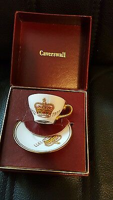 caverswall jubilee commemorative miniture cup and saucer in original box