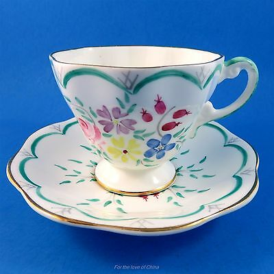 Handpainted Floral with Green Scalloped Edge Foley Tea Cup and Saucer Set