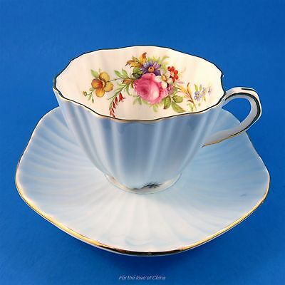 Ruffled Light Blue with Floral Accent Foley Tea Cup and Saucer Set