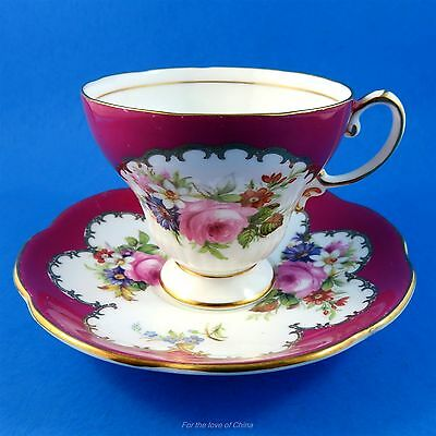 Deep Red and Floral Tapered Foley Tea Cup and Saucer Set ( Some Scratches )