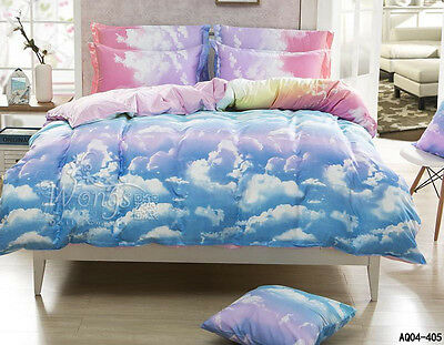 Clouds Doona/Quilt Cover Pillow cases Set King Bed Size Duvet Covers Linen