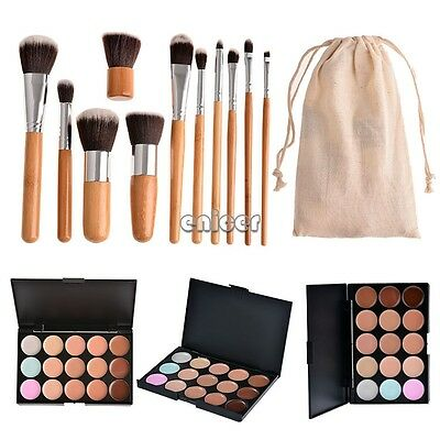 15 maquillaje cosmético corrector paleta + 11pcs Make Up Pincel Brocha Brush Set