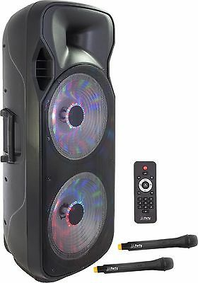"""Twin 15"""" Active Powered Bluetooth rechargeable Speaker system 1000 Watt USB"""