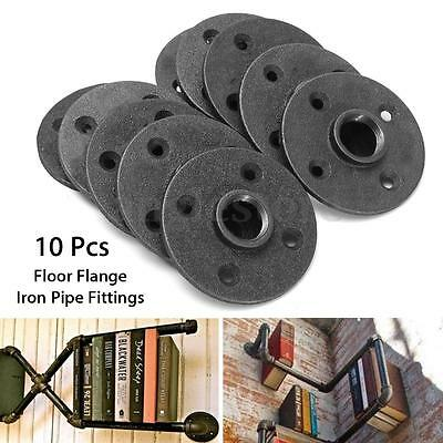 10X 3/4'' Black Malleable Threaded Floor Flange Iron Pipe Fitting npt Wall Mount