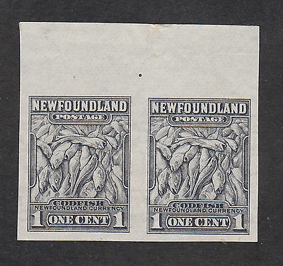 Newfoundland 1932 1c black imperf pair S.G.222a mint hinged