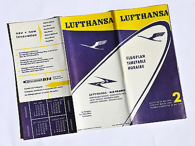 Original Vintage TIMETABLE 24 MAY 1959 LUFTHANSA AIRLINES - AIR FRANCE Flugplan