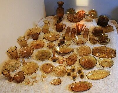 LARGE COLLECTION of AMBER GLASS - 1930's 1940's