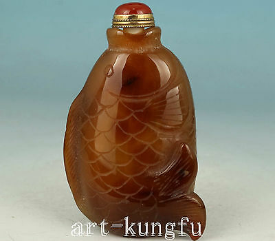 Chinese Old Jade Agate Collection Handmade Carved Fish Statue Snuff Bottle