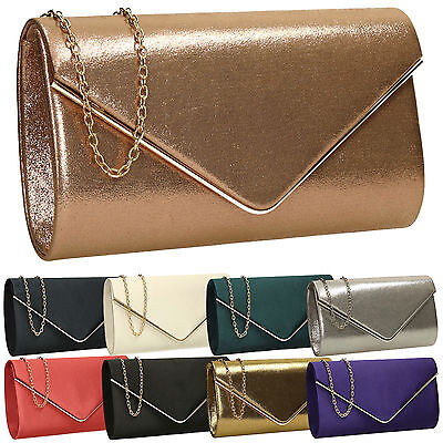 Womens Metallic Leather Envelope Ladies Evening Party Prom Smart Pink Clutch Bag