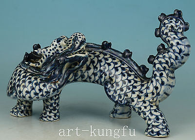 fine Chinese Old Blue And White PorcelaiCarved Dragon Statue Figure