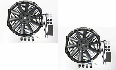 "2 x 10"" / 25cm Universal Radiator Electric Cooling Fans, Fitting Kits (Slimline)"