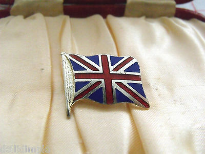 Vintage Silver Red Blue Enamel Union Jack Flag Brooch Tie Lace Pin Strattons