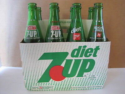 Vintage 8 Pack 16 Oz Glass Bottles Diet 7UP Return for Deposit w/Carton