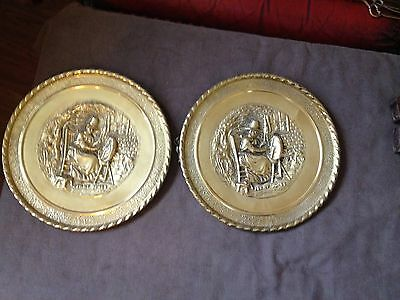 vintage brass wall plaque  jenny jones  x2