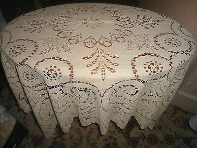"A Very Pretty Cream Lacey  Tablecloth With Lace Edge 50"" Square"
