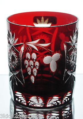 Nachtmann Traube Ruby Red Cut to Clear Crystal DOF Whiskey Glass New Signed