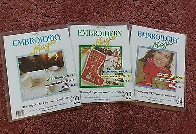 Embroidery Magic Packs # 22, 23 & 24 1980s - 18 projects with instructions