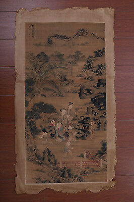 Large Fine Old Chinese Hand Painting Landscape Figures Marks PD049