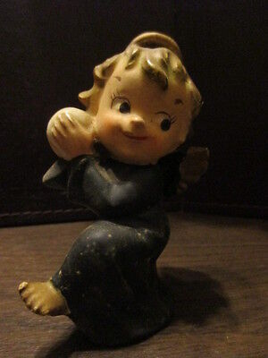 Vintage Porcelain Figurine - Child Angel in Black Throwing Ball - Halo & Wings