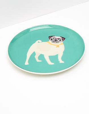 Joules Barking Side Plate in Aqua Pug in One Size