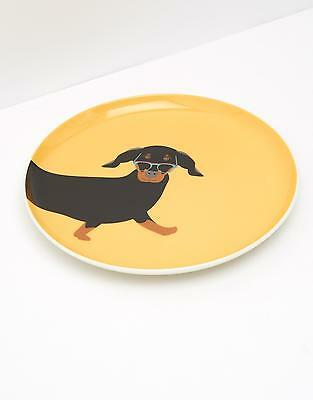 Joules Barking Side Plate in Yellow Dachshund in One Size
