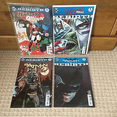 4 DC Rebirth Number 1 Issues - Batman, Suicide Squad, Harley Quinn - First Print