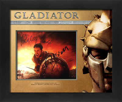 Gladiator Russel Crowe and Ridley Scott signed lasercut display