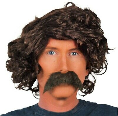 Brown Wavy Fancy Dress Wig (Mid) & Long Droop Biker Style  Moustache (The Biker)